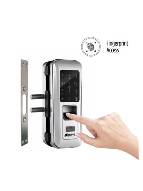 OZDL 23PCF G2W STD Fingerprint Digital Glass Door Lock with 4 in 1 Access Glass to Wall 2