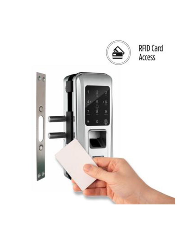OZDL 23PCF G2W STD Fingerprint Digital Glass Door Lock with 4 in 1 Access Glass to Wall 4